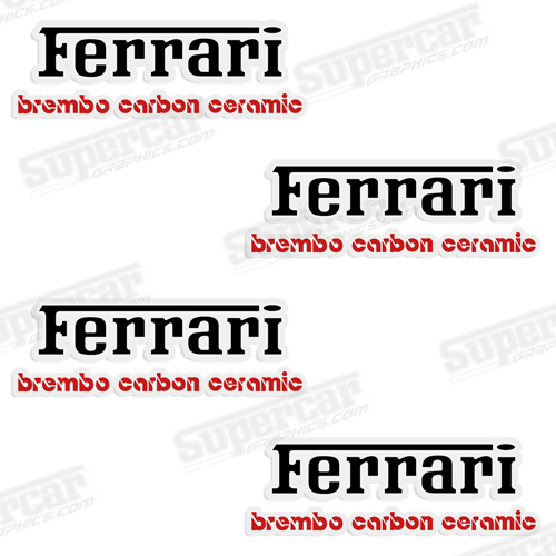 Ferrari Brembo Carbon Ceramic Brake Caliper Decals - Black/Red
