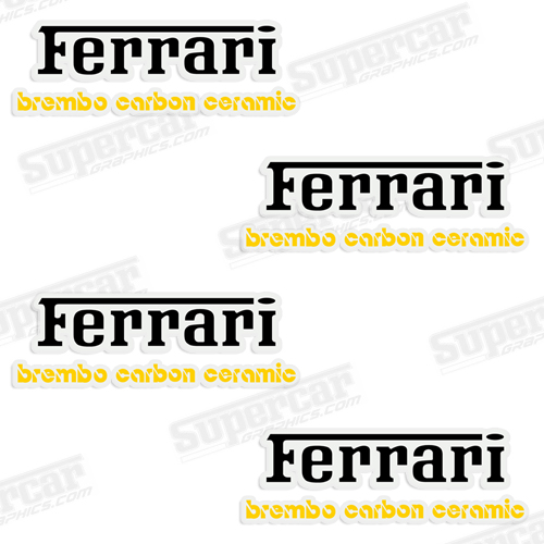 Ferrari Brembo Carbon Ceramic Brake Caliper Decals - Black/Yellow