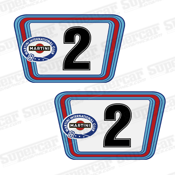 Martini Le Mans Vintage Racing Large White Bkgd Number Plate Decals