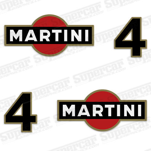 Porsche Martini Logo and Number Decal Kit (Set of 2)